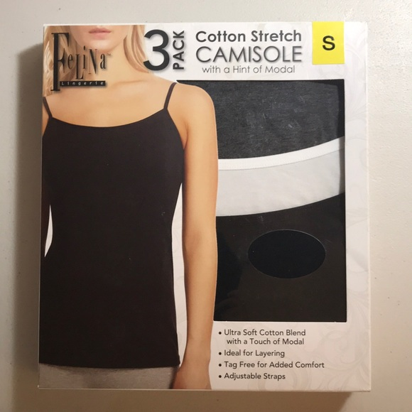 Felina 3 pck cotton blend stretch camisole ideal for layering adjustable strap M